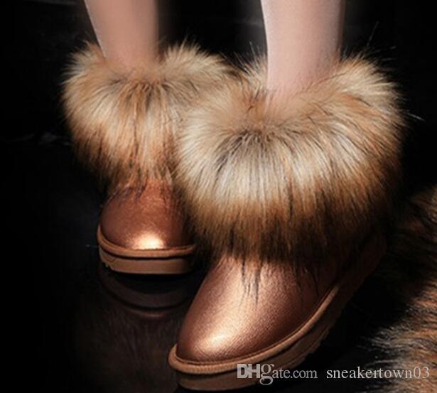 Winter warm Art und Weise Baumwolle Frauen klassische lange Haare knien Stiefel Stiefeletten schwarz grau rosa Farbe 10 Frauen Schneeschuhe Größe 35-41