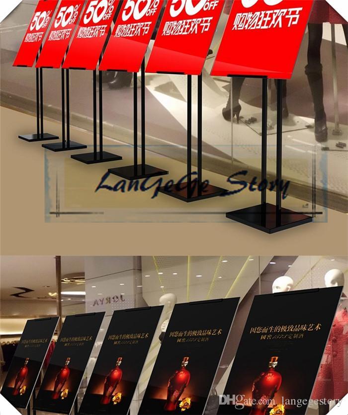 Frete grátis Ajustável Duplo Poste Chão Ferro Cartaz Exibição para Loja de Varejo, Shopping Centers, Hotel e Restaurante