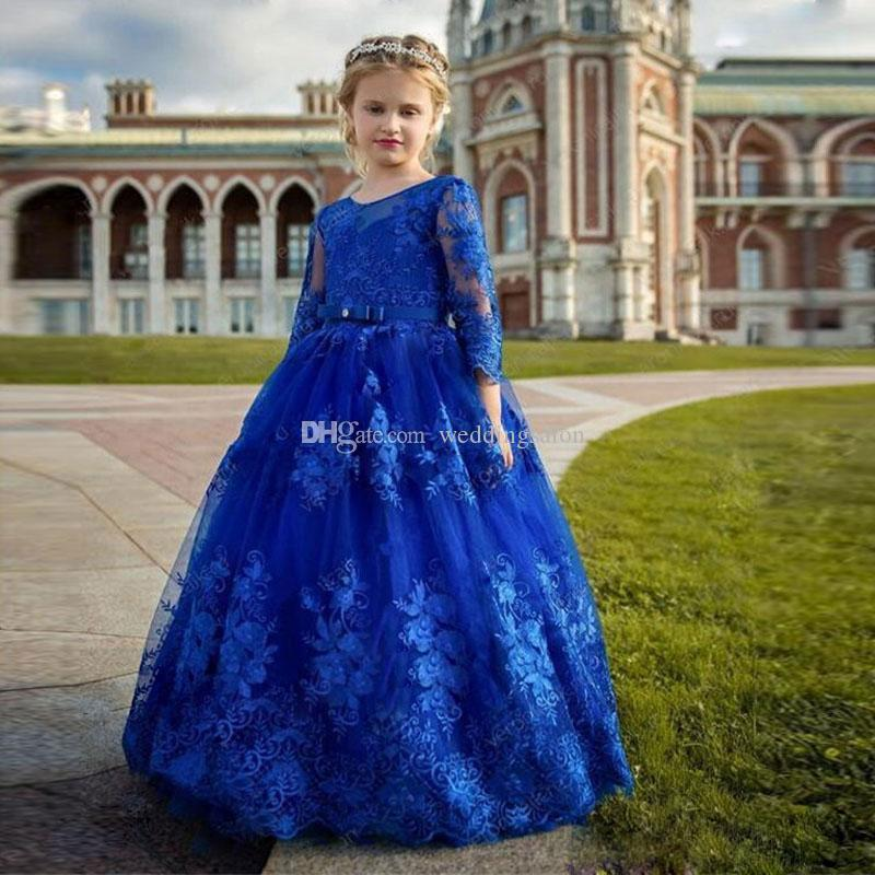 Royal Blue Long Sleeves Lace Flower Girl Dresses For Beach Wedding Backless Pageant Gowns Floor Length Ball Gown Kids Communion Dress