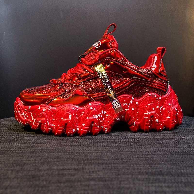 Calçados Femininos Dad Chunky Sneakers Mulheres luxo confortável Glossy Grosso Sole Ladies Plataforma de onda inferior corrida Trainers Feminino