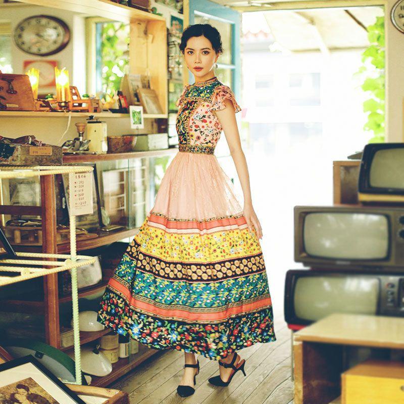 2019 nuevo diseñador de pista remiendo de la gasa maxi largo del vestido de las mujeres del cordón del verano impresa floral corto vestido delgado de la manga vestidos T200627