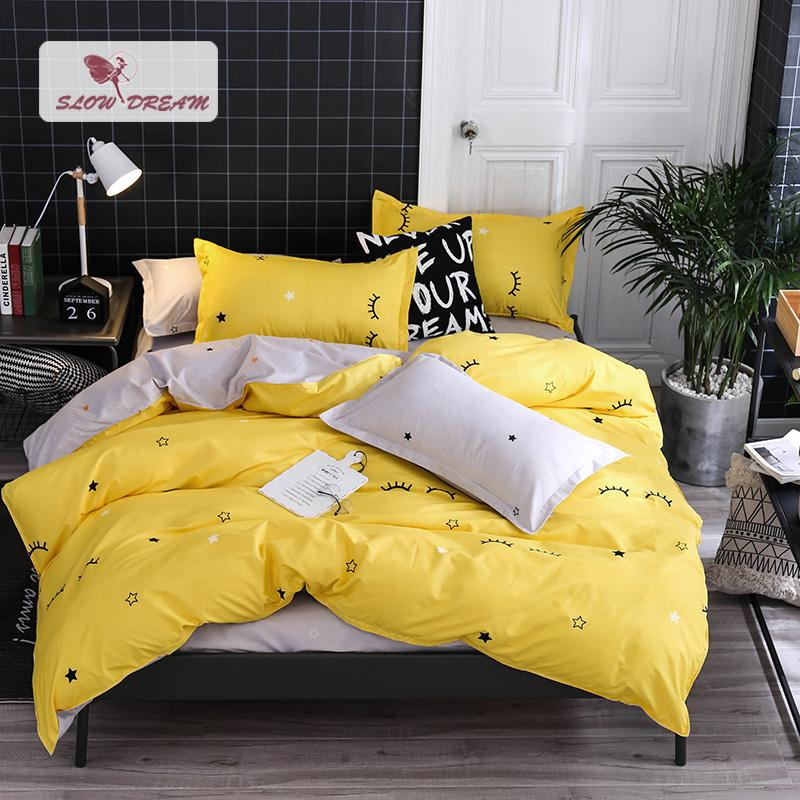 SlowDream Lovely Yellow Bedspread Gray Flat Sheet Pillowcase Bed Cover Linens For Adult Child Double Queen Bedclothes Home Decor