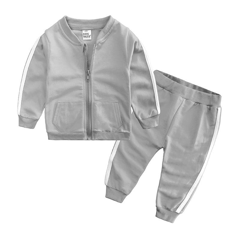 Baby Boys Girls Одежда для одежды новорожденного мальчика с длинным рукавом Одежда на молнии + брюки 2 шт. Спортивный костюм младенцев повседневный набор