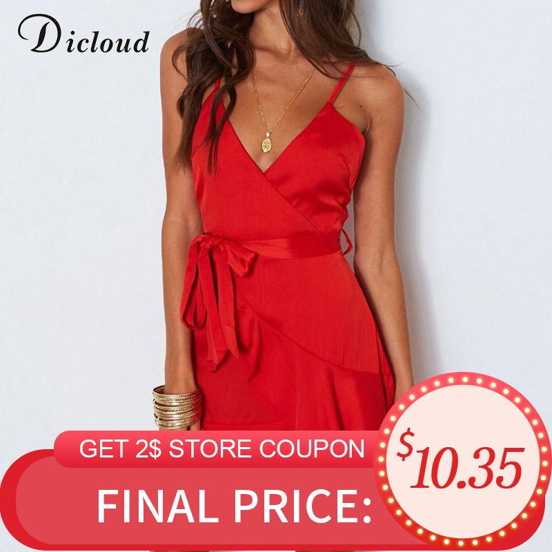 Dicloud Kırmızı Saten Parti Elbise Yaz Kadın Backless Seksi V Boyun Mini Plaj Sundress Beyaz Rahat Streetwear Zarif Bodycon Q190511
