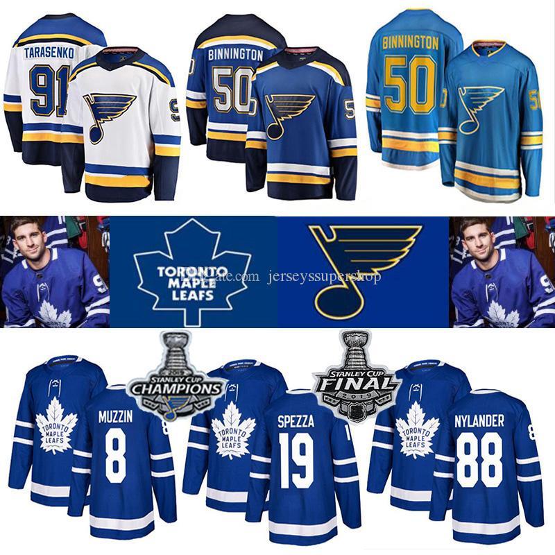 2019 20 St. Louis Blues Coupe Stanley des Maple Leafs de Toronto Maillots Hockey Champions 50 Binnington Schwartz 90 Ryan O'Reilly 91 Vladimir