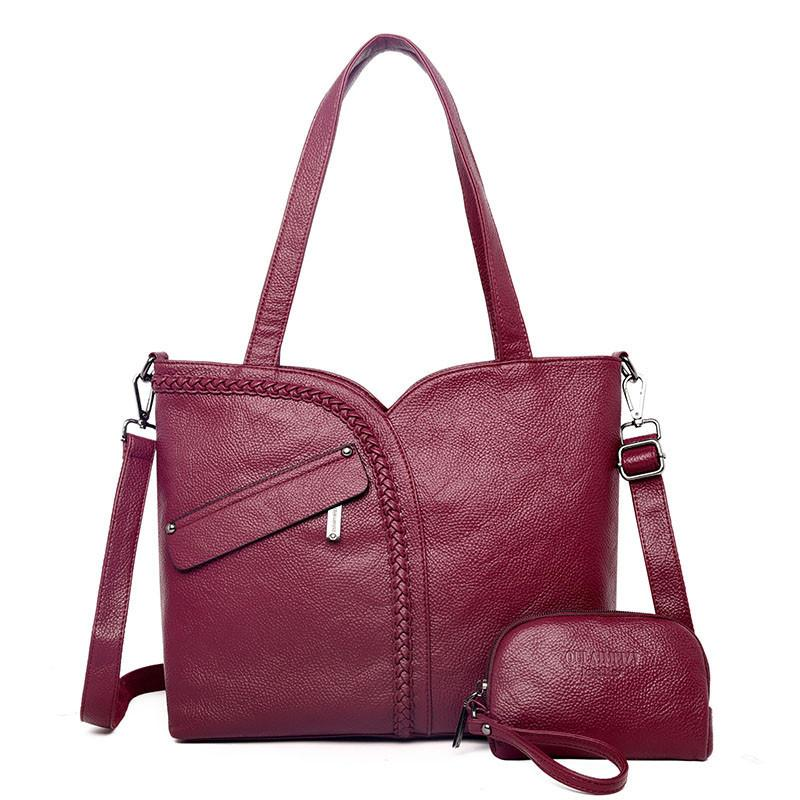 2 Sets Large Capacity Women Bags Shoulder Tote Bags Women Messenger Bags With Coins Famous Designers Leather Handbags Sac