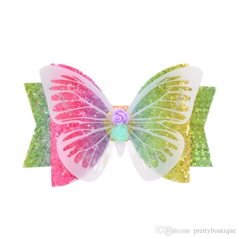 Girls Hair Clip Colorful Dream Butterfly Barrettes Kids Bow Headdress Children paillette cute Designer Hair Clips 091