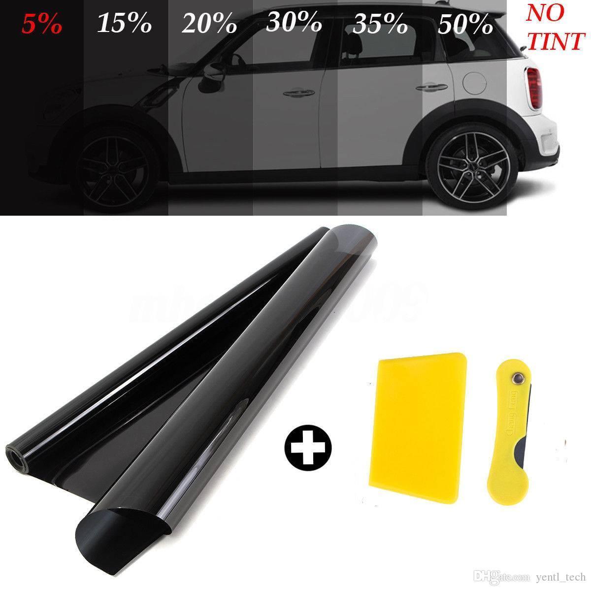YENTL 50 CM X 3 M Araba Çıkartmaları Renklendirme Film Rulo Yan Pencere Evi için Kazıyıcı ile Ticari Güneş Vlt Oto Ev Cam Tonu