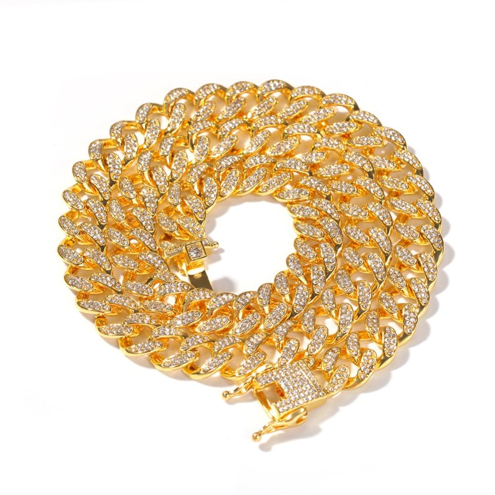 Tenis Miami Cuba Cuba Cadena Cadena Collares 13mm Full Bling Iced Out Crystal Rhinestones Silver Gold Color Fashion Jewelry Hombres Collar
