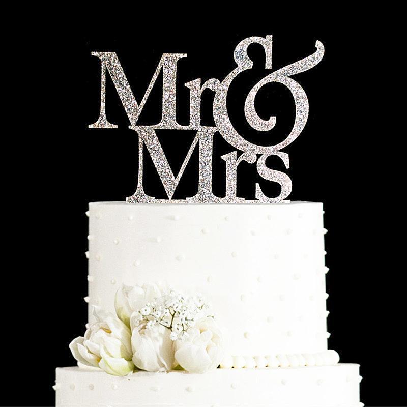 Wholesale-Glitter GoldenSilver Herr und Frau Cake Topper Hochzeit elegante Hochzeitsdekorationen Hochzeitstorte Dekorationen Geschenke begünstigt Lieferungen