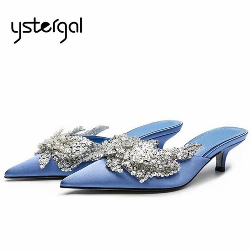 Ystergal Bleu Satin Femmes Pantoufles À Bout Pointu En Cristal Décor 5 CM Chaussures À Talons Hauts Femme À L'extérieur De Chaussures Diapositives Mules Chaussures Habillées