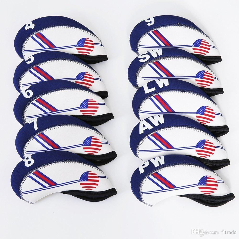 10pcs/set Golf White & Blue US Flag Neoprene Golf Club Head Cover Wedge Iron Protective Headcover Protector Case
