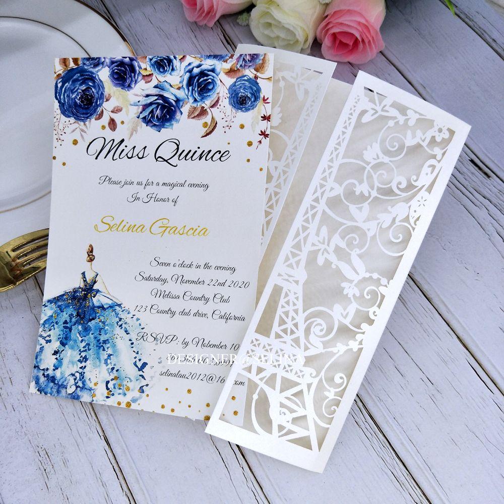 Crema Paris Tower Láser Corte de bolsillo Invitaciones de boda DIY Invitación imprimible para Quinceañera XV Cena de cumpleaños Invitaciones