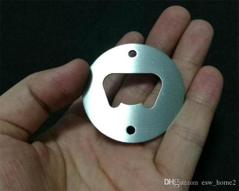 Bottiglia in acciaio inox Fori Opener Parte Con tondi svasati o personalizzato di metallo a forma forte lucidato apribottiglie inserire parti