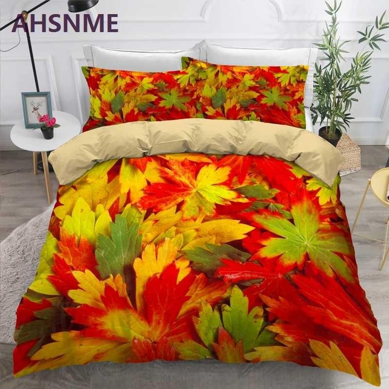 AHSNME 사용자 정의 패턴 골든 레드 잎 침구 세트 디지털 인쇄 이불 커버 레저 생활 임금 여왕 더블 이불 커버 세트
