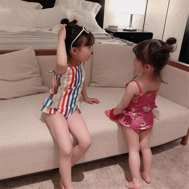 Arco iris bebé niñas traje de baño playa bikini lindo rayas dibujos animados traje de baño primavera verano natación baño ropa de baño sin mangas de una sola pieza