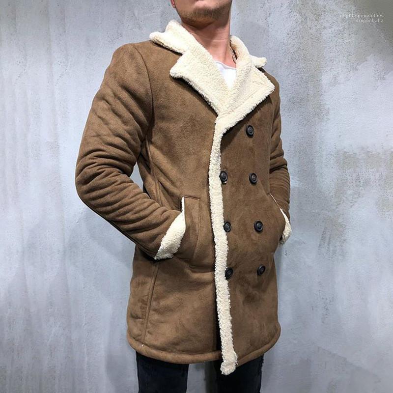 Largas masculinos ropa de invierno chaquetas de los hombres de la solapa del cuello de mediana Diseñador remiendo del color Grueso hombres abrigos casual color sólido
