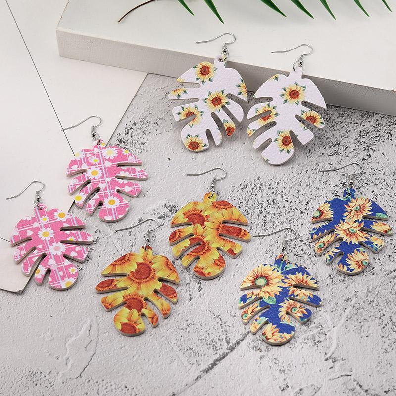 Mode Blatt Leder Ohrringe hohlen Blatt-Fisch-Knochen-Muster-Ohrring-Sonnenblume-Druck-Leder baumeln Ohrring für Frauen-Partei-Schmucksache-Geschenk