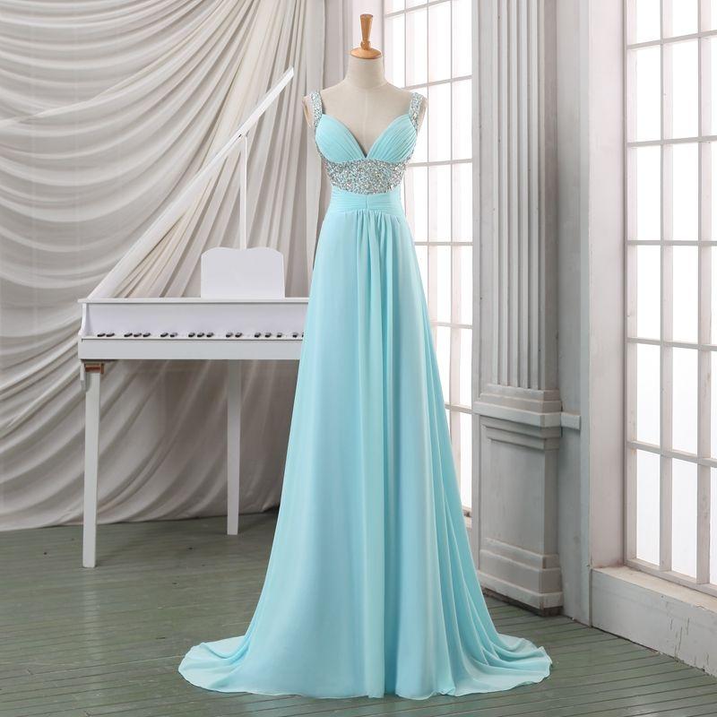 Robes élégantes pour soirée de mariage bretelles spaghetti bébé bleu en mousseline de soie mère de la mariée Robes avec des perles de mariage de plage Guest Dresses