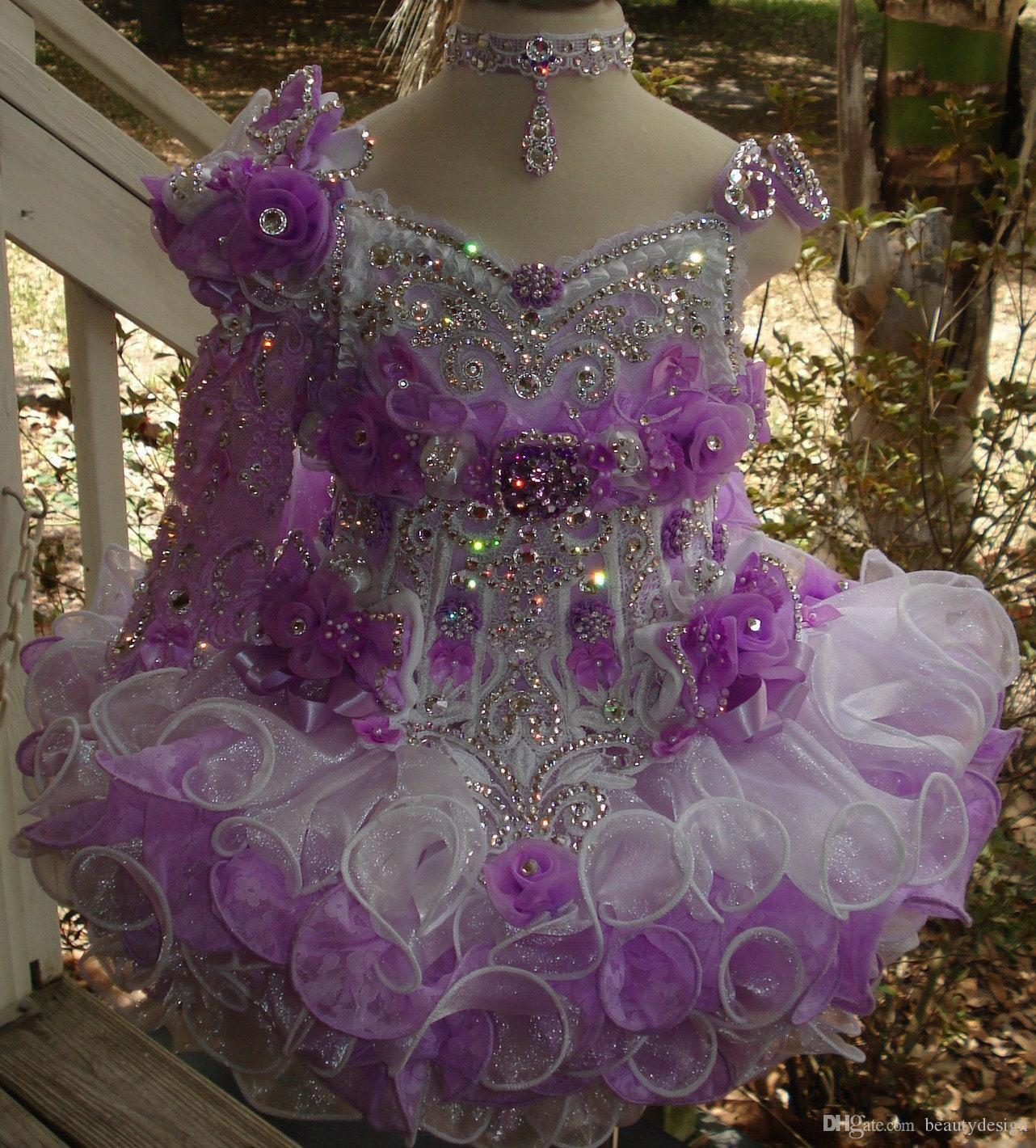 Luxury one shoulder necklace beaded hand made flower ball gown cupcake toddler little girls pageant dresses flower girls for weddings glitz