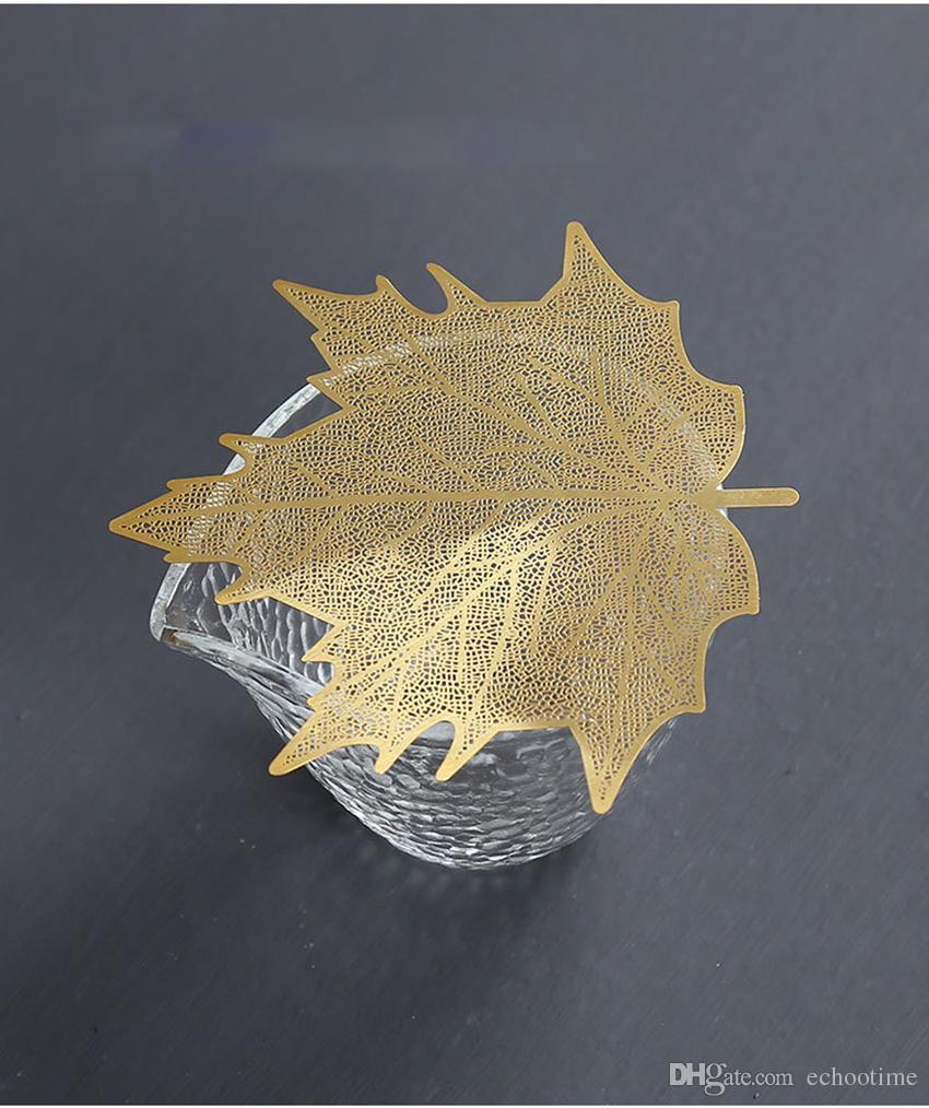 500 ADET Çay Kahve Yumruk Filtre Demlik Bodhi Maple Leaf Şekli Bakır Metal Yaratıcı Çay Sanat Kung Fu Süzgeç Araçları Akse ...