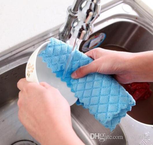 10 قطع غسل صحن القماش الخيزران الألياف غسل منشفة ماجيك المطبخ تنظيف المسح الخرق أدوات المطبخ lp0136