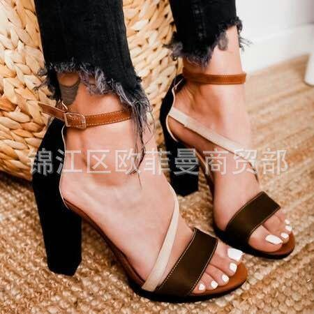 Ebullient2019 High-heeled Fund Spelling Naked Toe Sandals Woman 40-43 Will Code Women's Shoes
