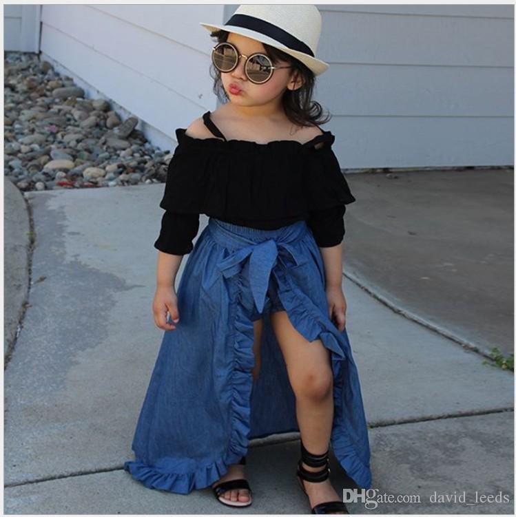 Yeni Sıcak Satış Kızlar Için 3 adet Setleri Giyim Seti Sling Üst + Denim Etek + PP Şort Kızlar Butik Güz Giyim Çocuklar Kız Kıyafetler Suits