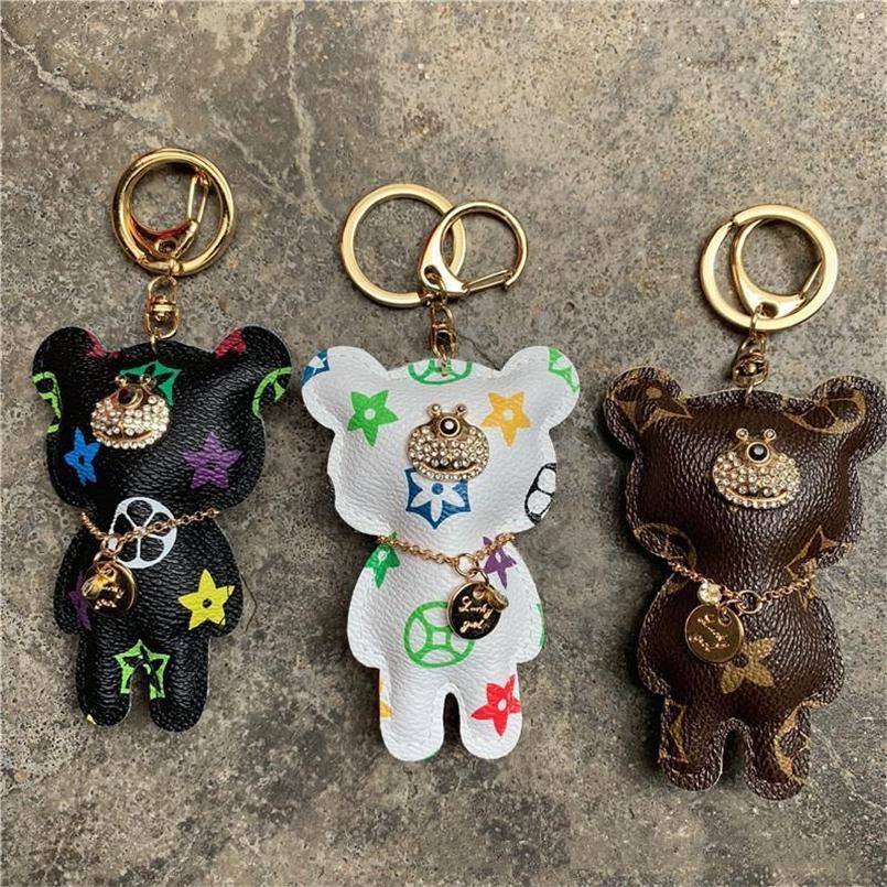 Oso llavero accesorios moda rhinestone llavero llavero cuero oso patrón llavero llavero joyería bolsa encanto animal llavero soporte 6 colores