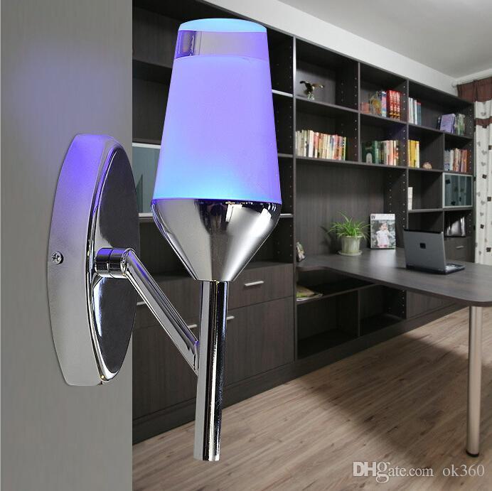 Lampada da parete NOVITÀ Bar LED creativo principali moderne hotel KTV lampada da parete camera da letto per camera da letto Corridoio Corridoio Veranda Sfondo rosso / blu / bianco caldo