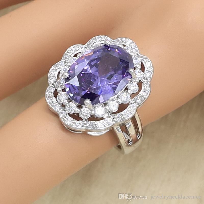 Ovale Violet Zircon 925 Bague en argent pour femmes Bijoux mariage couleur cadeau rétention