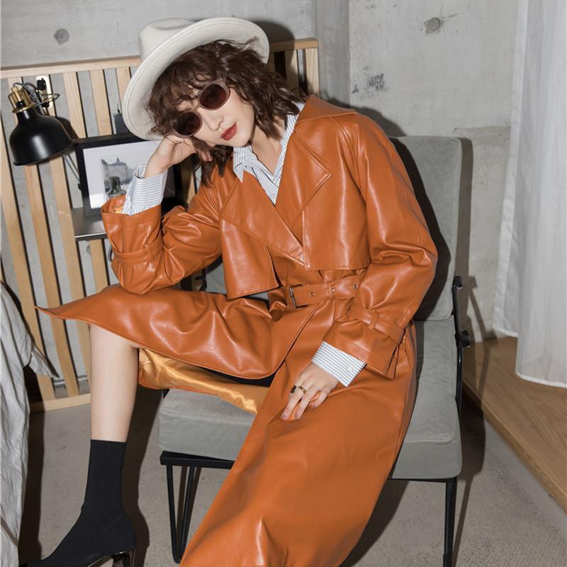 Bella Philosophy Wonder 2019 NEW Slim Pu Cortex Trench Coat Women Waistband Suit Collar Streetwear Autumn Winter New Top Women