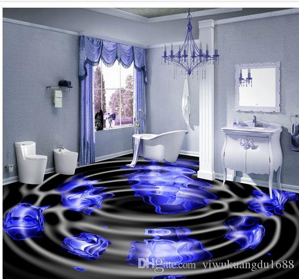 Papier peint imperméable à l'eau de plancher de fleur bleue de la salle de bains 3D pour le mur de la salle de bain