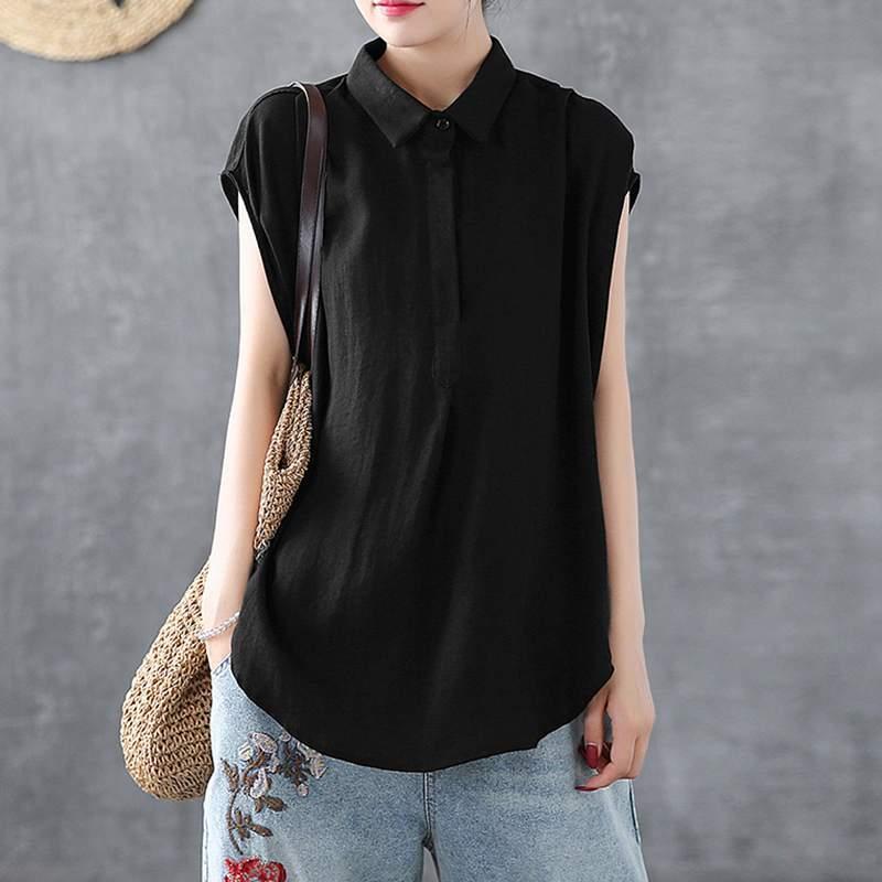 Kadın Yaz Bluz ZANZEA Moda Yaka Casual Kolsuz Yaz blusas Kadın Asimetrik Gömlek Büyük Boy Chemise Tops