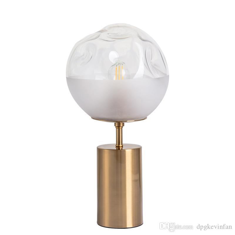 Золото железо стекло E27 LED боковая настольная лампа для современной спальни гостиной ночной прикроватный столик декоративный