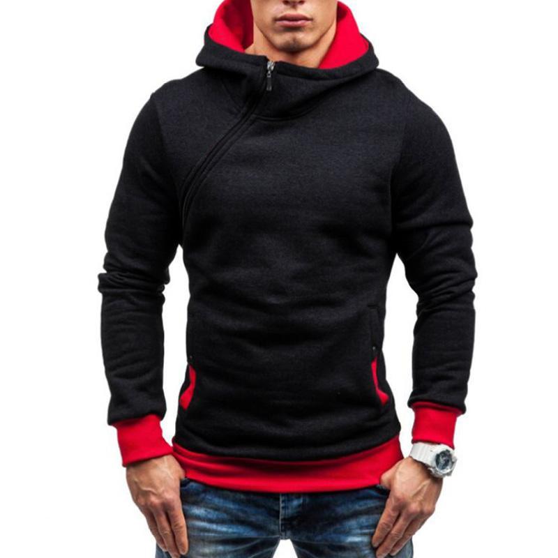 promo code 64213 4b425 Großhandel Coole Männer Hoodie 2018 Schräge Reißverschluss Einfarbig  Hoodies Sweatshirts Mode Trainingsanzug Sweatshirt Hoody Herren Plus Größe  ...