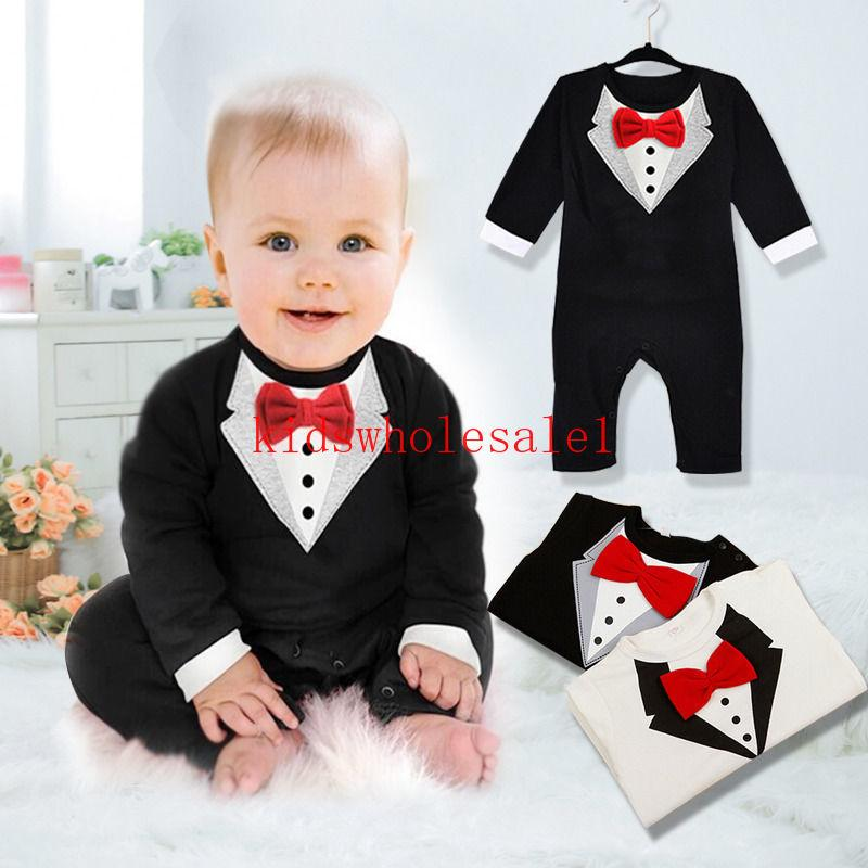 Summer Formal Toddler Baby Boys Romper 2 Style Long Sleeve Gentle Bow Solid Jumpsuits Romper Outfit 0-3Y