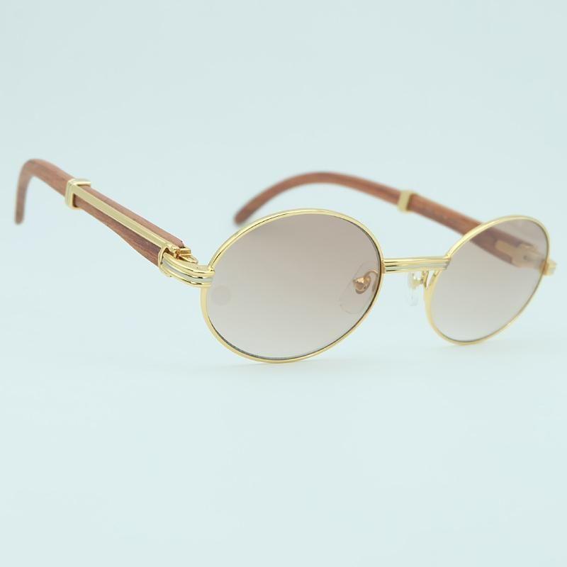 Vogue Lunettes de soleil de luxe Hommes Décoration Ovale Bois Or Sunglass Mode Vocation Accessoires d'été à l'ombre Lunettes de soleil