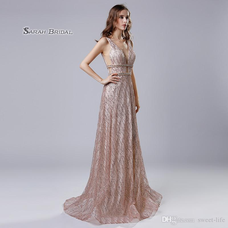 2019 Rose Gold Sequins A Line Sparkly Prom Party Dress Deep V Neck 2019 Sexy Elegant Vestidos De Festa Evening Wear Formal Occasion Gown Lx541 From