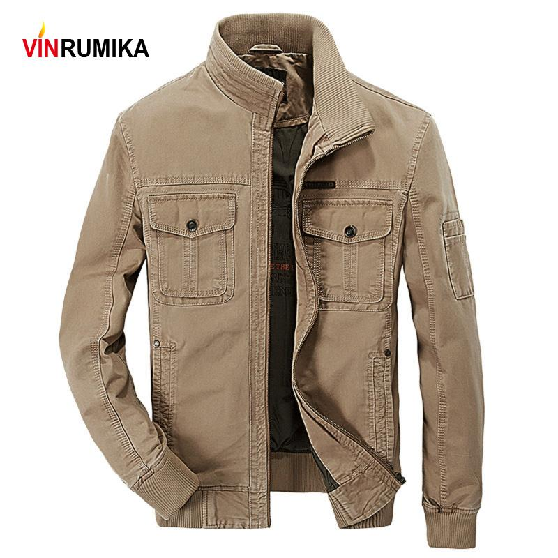 New 2020 Spring Autumn Men's Quality Europe Casual Style Khaki Jacket Army Coat Man 100% Cotton Black Jackets Outerwear