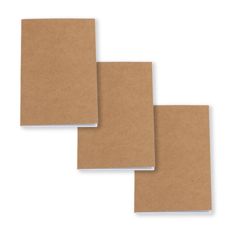 Kraft Notebook Unlined Blank Books Travel Journals for Students School Children Writing Books 8.8 * 15.5 cm