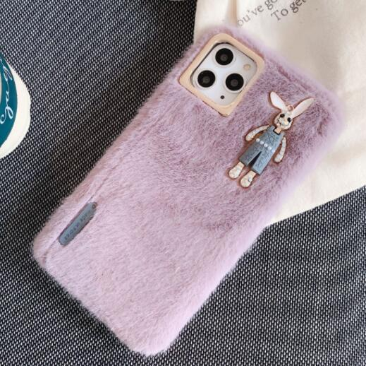 1pcs Phone Case Fashion Tide Brand Plush Rabbit Shatter-Resistant Shell For Iphone 7 8 Xr Xs 11 Pro Max Plus Protective Shell