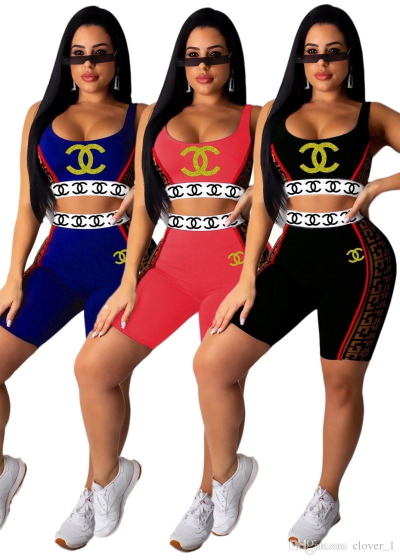 Bayan hoodie tozluk kıyafetler iki parçalı set eşofman gömlek şort spor seti kolsuz spor sıcak satış klw1723