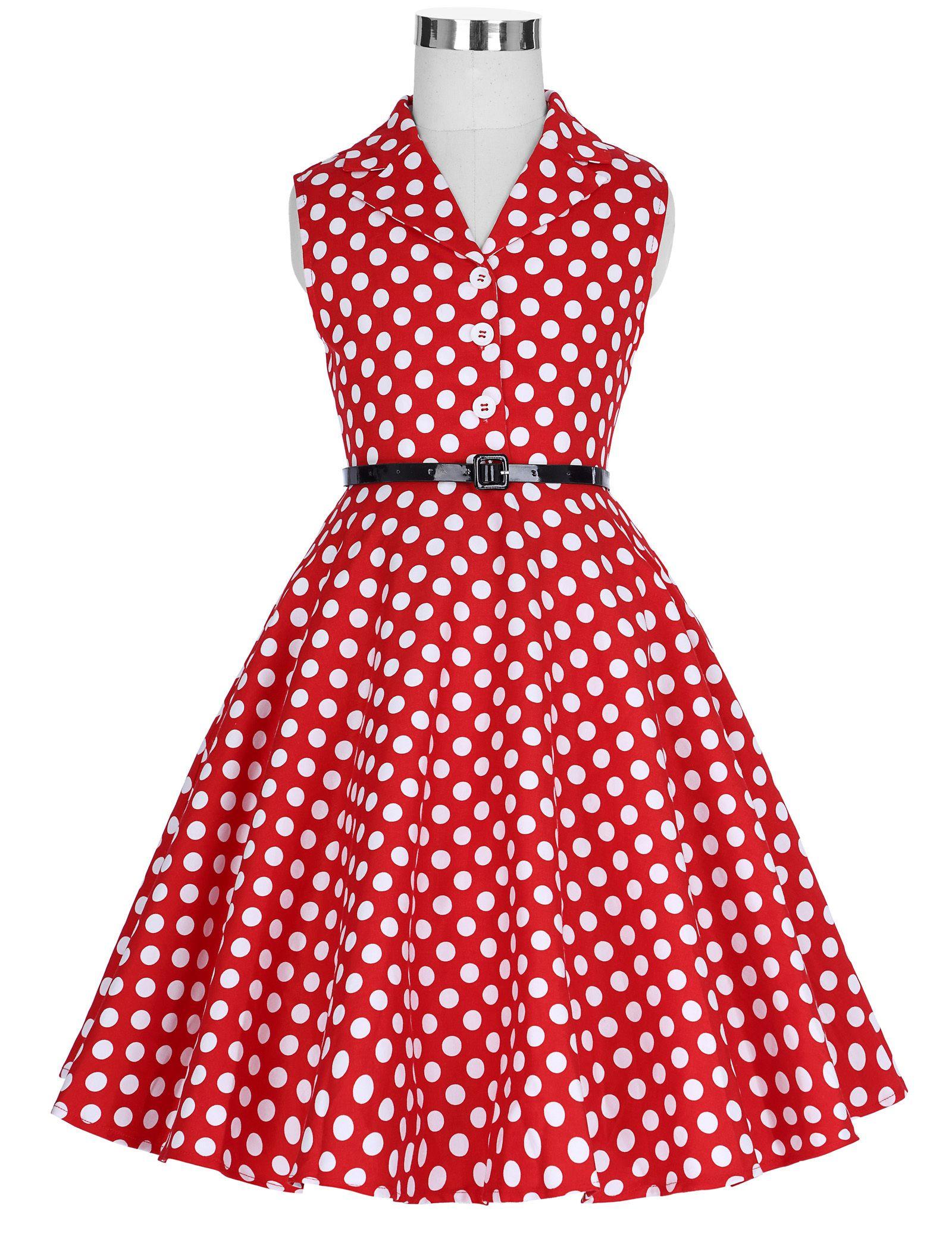 New Children Kids Girls Retro Vintage Sleeveless Lapel Collar Polka Dots Dress J190514
