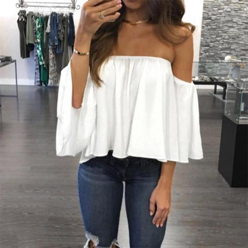 Fashion Women Off Shoulder Top Long Sleeve Pullover Casual Blouse Hals Langarm Chiffon Schulter Blouse Fashion New