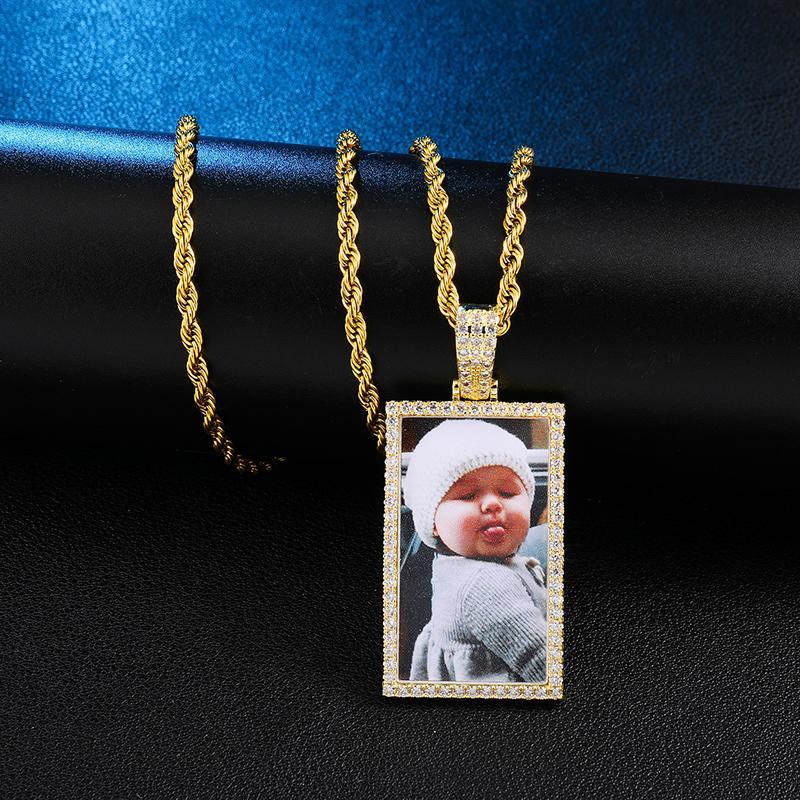 ustom photo géométriques Médaillons Collier avec pendentif Tennis Chaîne Or Argent Couleur cubique Zircon Hip Hop Hommes Bijoux