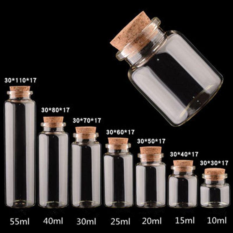 10ml 15ml 20ml 25ml Bouchonnières Bouteille en verre Souhaitant bouteille cadeaux Creative bricolage Vial Tubular Huile essentielle Vial Drift Vial 40ml
