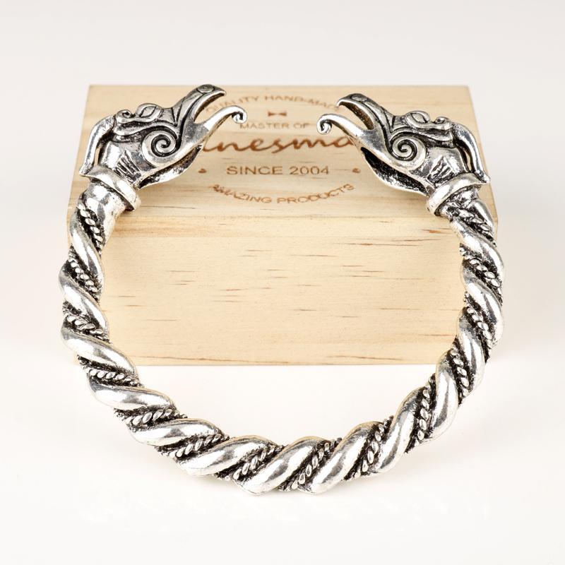 dongsheng Jóias pulseira antiga cabeça de dragão cor prata abertos pulseira Viking pulseira nórdicos jóias presentes para ele