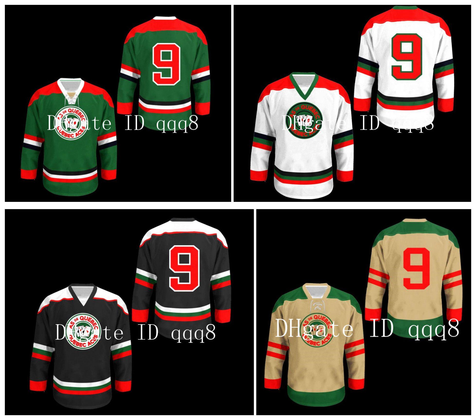 Quebec Aces Jerseys 9 Jean Beliveau 그린 화이트 크림 블랙 사용자 정의 모든 이름 100 % Stitching Custom Hockey Jerseys