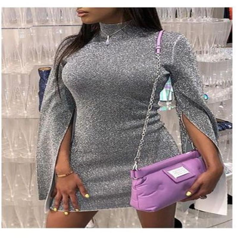 2019 New Style Fashion Hot Women Sexy Sequin High Neck Slit Sleeve Turtleneck Solid Dress Top Mini Pencil Clubwear